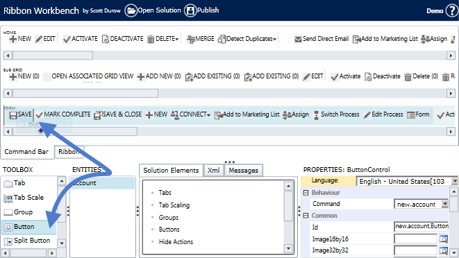 Calling Java Script on click of command button MS CRM 2015